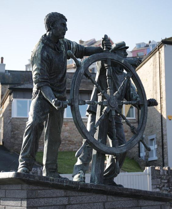 Man and Boy statue at Brixham harbour